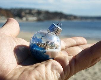 Hand Painted Holiday Ornament, Tropical Christmas, Beach Art, Seashells, Wedding, Ocean, Surfboard, Hawaiian Holiday, Surf, Engagement, Wave