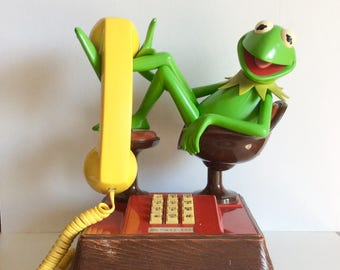 Kermit The Frog, 1983 Kermit the Frog Telephone Phone, The Muppets, Rare Retro 1980s Push Button Telephone Collectible Muppets Memorbilia