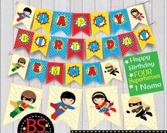 Superhero Birthday Banner , Superhero Birthday Party Banner , Superhero Party Custom Name Banner