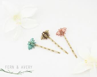 Choose silver, gold, teal, rose or bronze bee hair pins. Bee bobby pins. Elegant Bee hair clip. Dainty bee hair clip.
