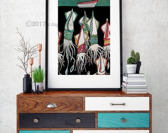 Giant Squid and Boat print nautical decor. Squid wall art. Squid poster. Constellation art print. Squid home decor. Boat print. Squid print.