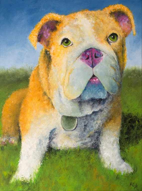 English Bulldog on a Sunny Day, Original English Bulldog Painting, English Bulldog Art by Krystle Cole
