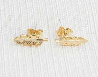 Matte Gold Feather Earrings, Feather earrings, Gold earrings