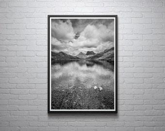 Cradle Mountain Print, Black and White, Tasmanian Photograph, Australian Scenery, Wall Art, Home Decor, Lake St Clair National Park