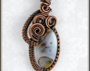 Montana Agate Pendant, Copper Wire Wrapped Agate Necklace, Stone Pendant, Wire Woven Pendant, Copper Jewelry, Nature Jewelry, FreeStyles