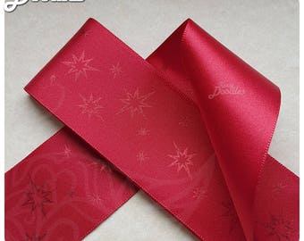 Red Star Pattern Ribbon - 4cm x 3m - Single Sided - Great for crafts and giftwrap