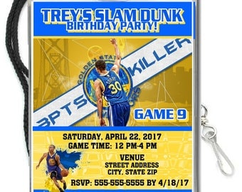 12 PER PACK Birthday Party VIP Lanyard Invitations Golden State Warriors Birthday Basketball Baby Showers Bar Mitzvahs Stephen Curry