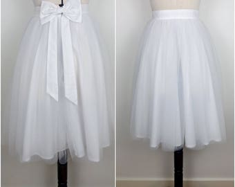 WHITE tulle knee length prom skirt, bridal, bridesmaid, christmas party, New Years, wedding