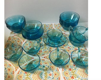 Vintage Turquoise Dinnerware, 30 piece  Dessert Set, 10 cups, 10 Saucers, 10 Bowls, Tea cups, Hobnail type raised bottom, Tea party, Holiday