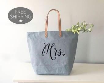 Mrs Tote Bag | Bride Tote Bag | Bachelorette Party Tote Bag | Wedding Tote Bag | Wedding Day Bag | Bride Bag | Mrs Bag | Engagement Tote Bag