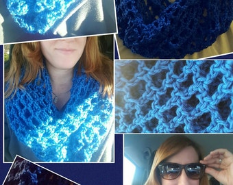 made to order custom hand-crocheted mesh cowl infinity scarf
