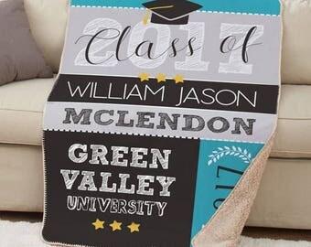 Personalized Class Of Sherpa Throw, Class Of Graduation Throw, Custom Graduation Blanket