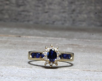 Estate, 14K Yellow Gold Diamond and Sapphire Ring Size 6 3/4