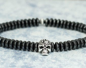 Skull bracelet Sugar Skull jewelry Gothic jewelry Biker jewelry Steampunk jewelry Men bracelet Men jewelry for men gift men accessories him