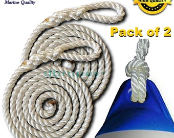 "dbRopes Fender Whips 100% Nylon Rope 3/8"" and 1/2""  - Made in USA - Pack of 2 Fender Lines."