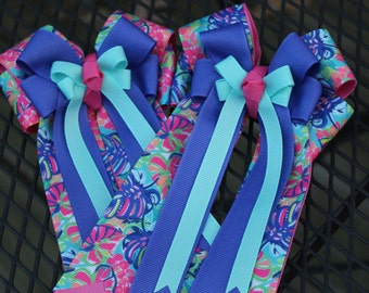 """Lilly Pulitzer Inspired """"Exotic Garden"""" Horse Show Bows"""