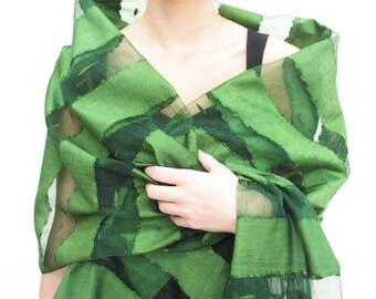 Elegant Emerald Green Scarf, Green Scarf Shawl, Green Evening Shawl Wrap, Green lightweight scarf shawl, Green Silk Scarf Shawl, Hand Dyed