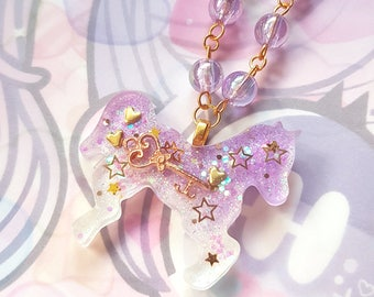 Lavender Horse Necklace - Sweet Lolita Fairy Kei Harajuku Resin Jewelry