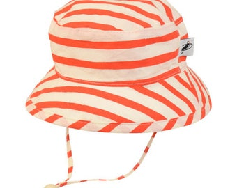 Child's Sun Protection Camp Hat - Organic Cotton Print in Sailor's Stripe (6 month, xxs, xs, s, m, l)