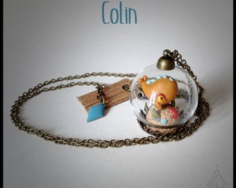 Jewelry necklace mini-terrarium glass - Colin the little fish-