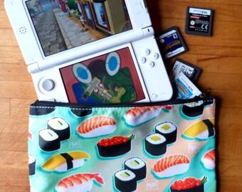 Sushi pattern zip case - pencil case - DS case - wash bag - make up bag
