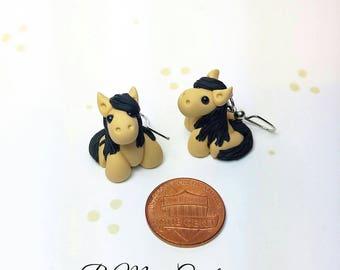 Miniature Horse Earrings, Buckskin - Small
