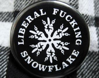 Liberal Snowflake Pin Back Button