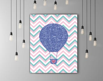 Glitter Balloon Nursery Wall Art, Baby Room Art, Nursery Printable, Kids Room Print, Pink Chevron Balloon Decor, Pink Glitter Decor Baby Art