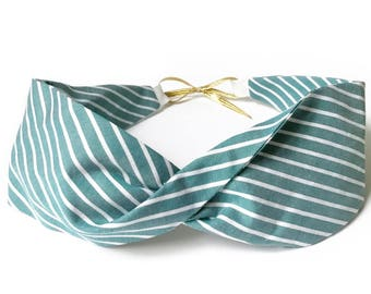 Green striped cotton headband