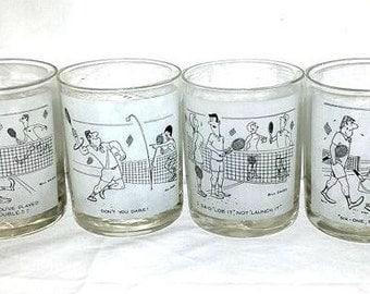 Bill Davey Cartoon Tennis Whiskey Glass,Set of 4,Double Old Fashioned,Tennis Rocks Glassware,Tennis,Low Ball,Bill Davey,Tennis Comics,1960s