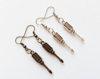 SCREWDRIVER Earrings Screwdriver Jewelry Screwdriver Charm Screwdriver Pendant Mechanic Gift Mechanic Earrings Mechanic Gift Fitter Gift