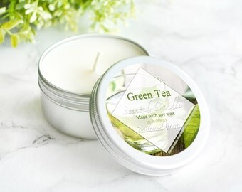 Green Tea Candle - Tea Lover Gift - Scented Soy Candle - Relaxing Travel Candle - Green Tin Candle - Soy Wax Gift For Mom - Container Candle