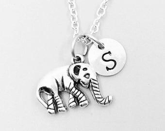 Elephant necklace, personalized necklace, elephant charm necklace, initial necklaces, elephant charm, elephant pendant, elephant jewelrys