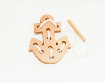 Wooden lacing a ship anchor toy, Educational toy, Montessori toys, Organic toy, Toddler activity, Natural eco friendly, Learning sewing toys
