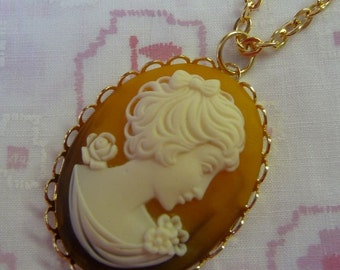 Simple Cameo Vintage Gold Plated Necklace
