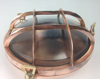 Copper 4-Bar Round Ship's Bulkhead Light (Ribbed Glass Optional)