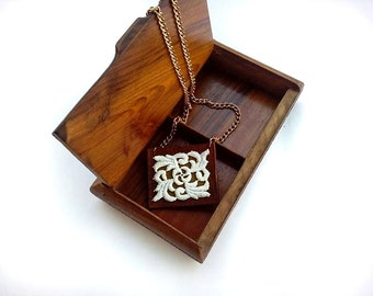 Women's Genuine leather necklace with Lace decor, Leather anniversary gift, Women's Leather jewelry, Leather necklaces, Lace necklaces