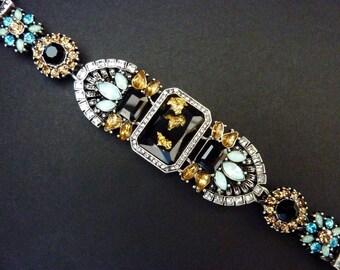 Art Deco Bracelet Jewelry Great Gatsby Bracelet Jewelry Vintage Art Nouveau Bracelet Jewelry Wedding Bridal Downton Abbey Downtown Abbey