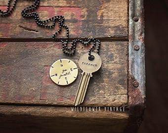 Fernweh Key Necklace   Hand Stamped Vintage jewelry travel wanderlust adventure