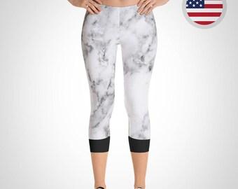 Marble Capri Leggings - Made in USA