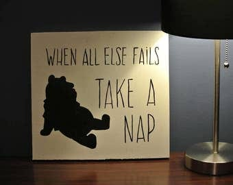 Painted Wood Sign - Winnie the Pooh - Hand Painted Wood Sign - When all else fails take a nap | Nursery Decor