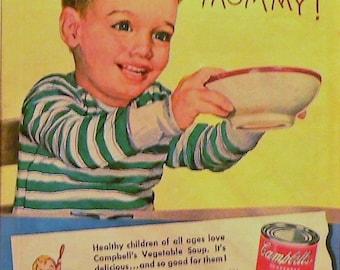 1950 Campbells Vegetable Soup Ad Matted Vintage Print