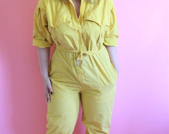 Vintage 80s Yellow Cotton Jumpsuit with Belt Romper