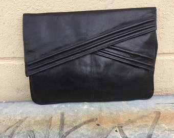 Black/Leather/Clutch/80's/genuine leather