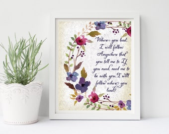 Gilmore Girls Printable, Where You Lead I Will Follow, Gilmore Girl Poster, Gilmore Lyrics, Gilmore Girls Gift, Gilmore Girls Quote, Gilmore