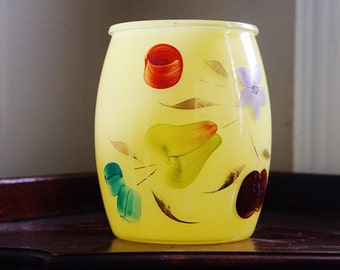 """Bartlett Collins """"Snow Orchard"""" 1958-1959 3 Quart Cookie Jar Utensil Holder - Vintage Canister Bright Yellow with Hand Painted Flowers"""