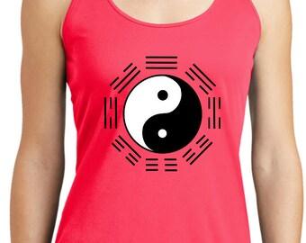 Yoga Clothing For You Ladies Yin Yang Trigrams Womens Dry Wicking Racerback Tanktop = LST356-TRIGRAMS