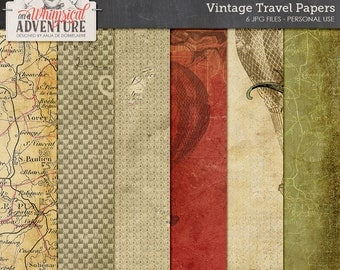 Steampunk, vintage travel, scrapbook papers, paperpack, patterns, binoculars, air balloon, vintage map, textures, art journal backgrounds
