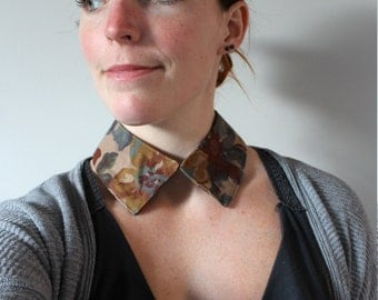 Handmade upcycled collar necklace with autumn floral print eco conscious