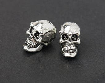 3D Skull Beads, Silver Skull Beads, Spooky Beads, Vertical Hole, Antique Silver, Made in the USA, 8x6mm, 2Pc